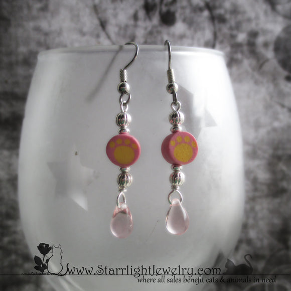 Pretty Pink And Yellow Paw Bead Earrings