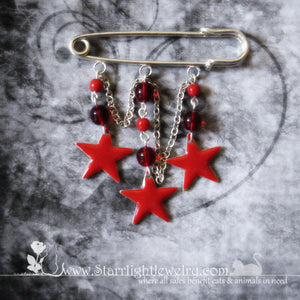 Vibrant Red Star Rockstar Kilt Pin Brooch Sunglass Holder