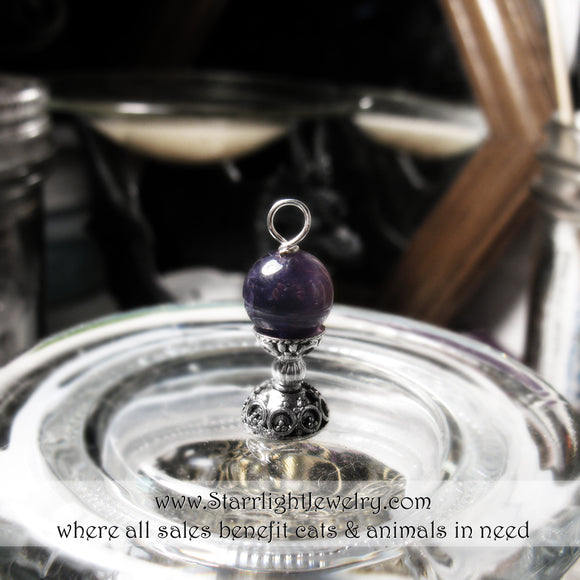 Miniature Amethyst Scrying Orb Pendant