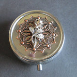 3 Section Delicate Rose filigree Pill Box / Treasure Box