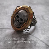 Dare I dream silver skull brass locet poison ring adjustable handmade