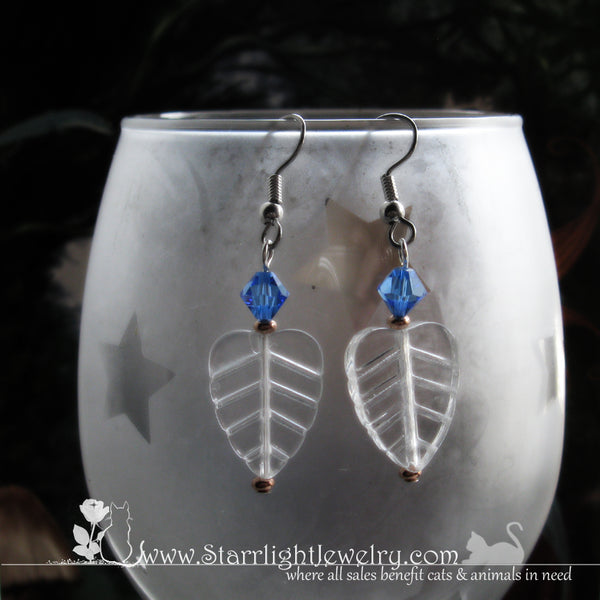 Crystal Leaf Earrings Winter Leaves Of The Ice Born Tree