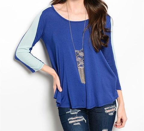 Two-Tone Blue 3/4 Length Sleeve Blouse