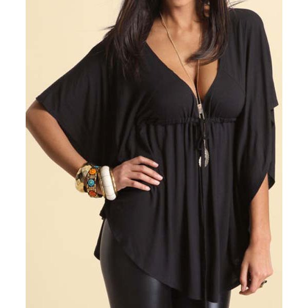Batwing Style Top with Adjustable Drawstring