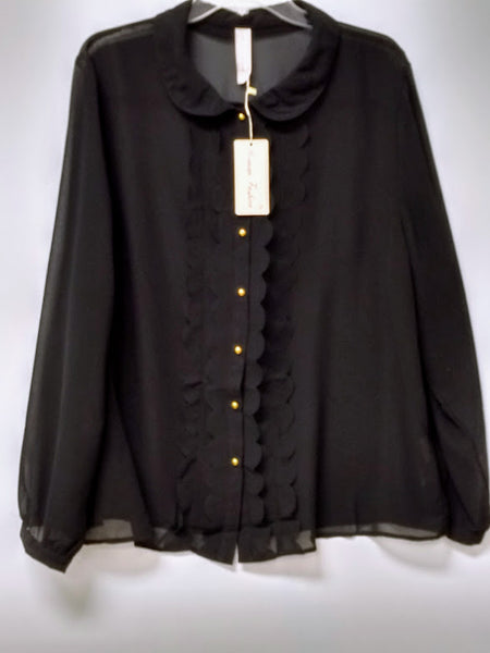 Sheer Ruffle Front Top with Gold Colored Buttons