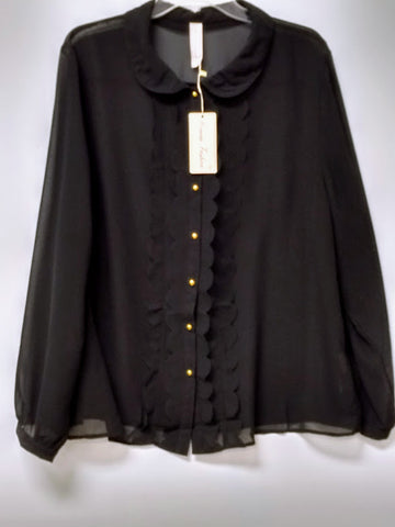 Black Ruffle Front Top with Gold Colored Buttons