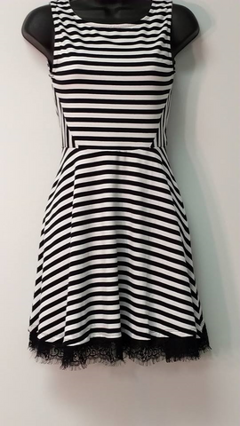 Black and White Stripe Sleeveless Mini Dress
