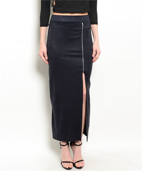 Ankle Length Suede Feel Black Skirt