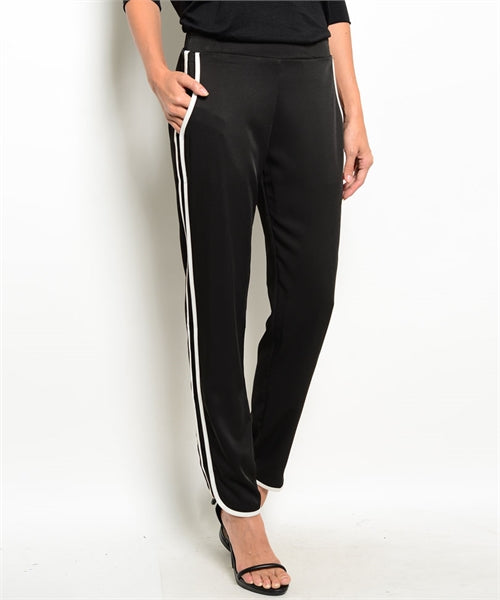 Casual Comfortable Black Pants with Ivory Color Side Stripe