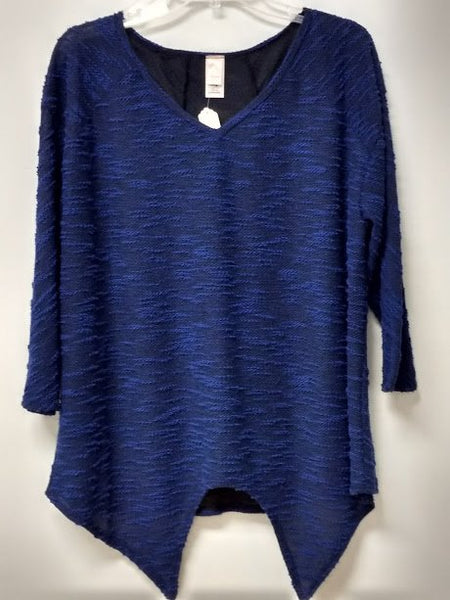 Blue Shark Tooth Blouse (Plus Size)