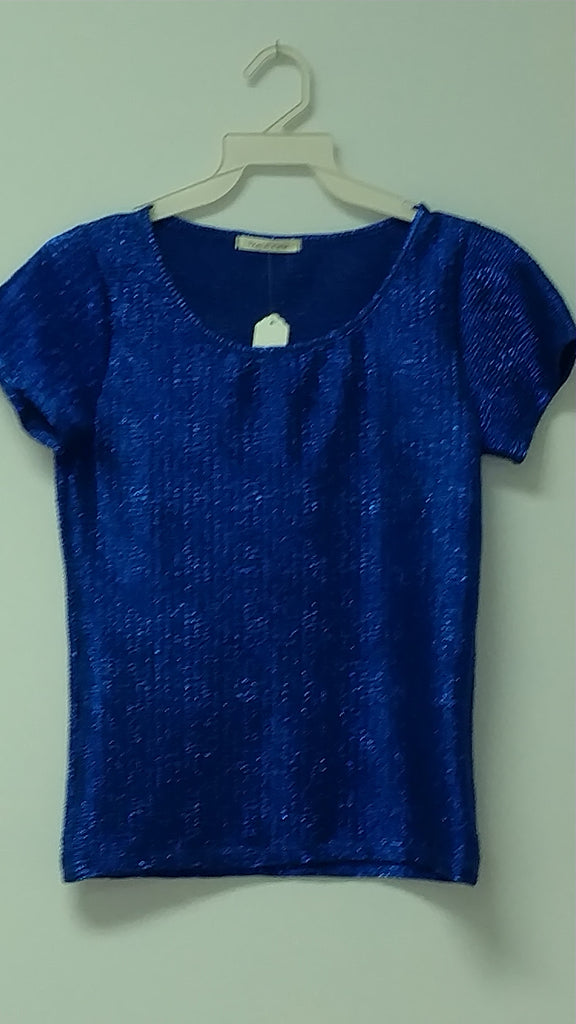 Short Sleeve Metalic Blue Top