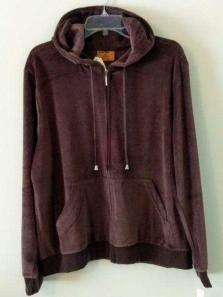 Women's Velour Zip Front Hoodie Jacket (Plus Size)