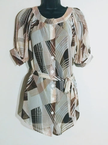 Brown and Beige Abstract Print Transparent Top