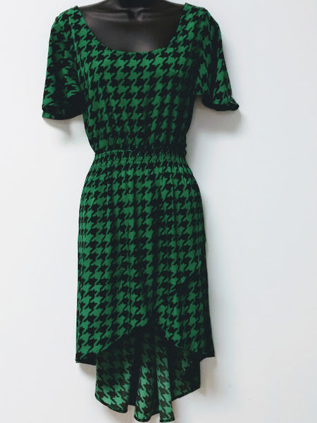 Green High Low Short Sleeve Dress
