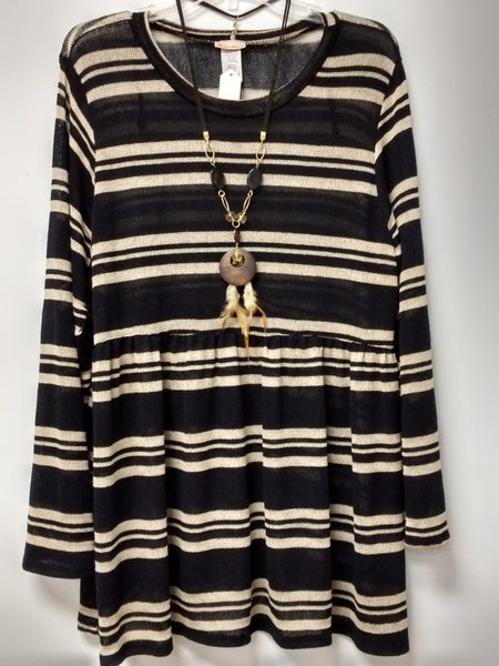 Loose Fit Knit Multi-Color Stripe Blouse