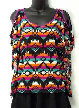 Cold Shoulder Multi-Color Print Blouse