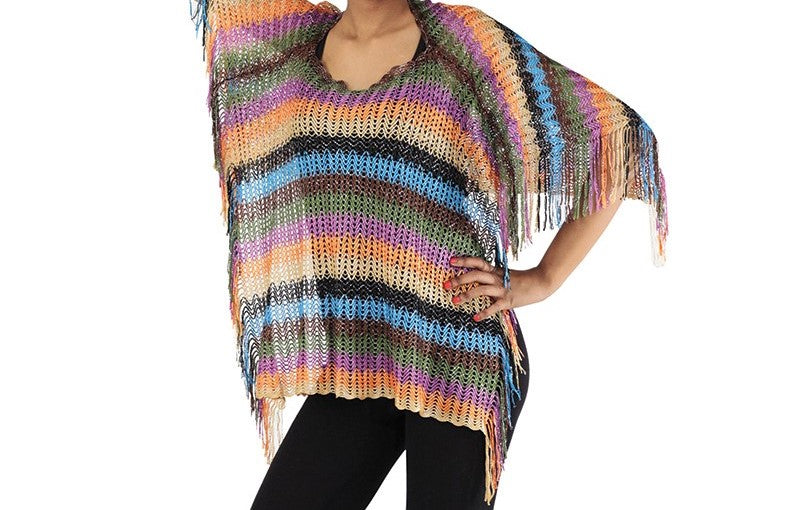 Multi-Color Crochet Cover-Up Poncho (One Size)