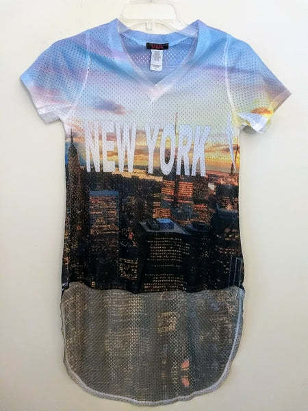 New York V-Neck Mesh High/Low Style Top
