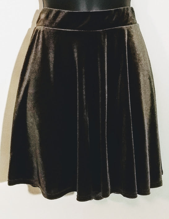 Olive Green Flare Velvet Mini Skirt