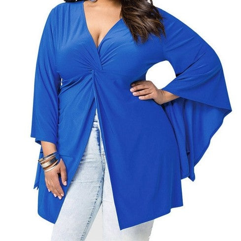 Royal Blue Bell Sleeve Top (Plus Size)