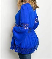 Royal Blue High Quality Bell Sleeve Crochet Top