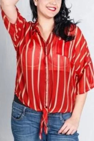 Striped Sheer Blouse (Plus Size)