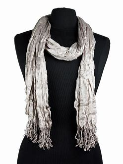 Fashionable Long Silver-Sand Color Scarf