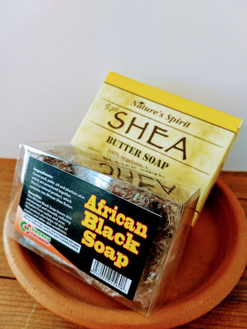 Raw Shea Butter and African Black Soap Combo (2 Boxes)