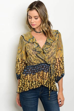 Gold, Black and Blue Animal Print Top