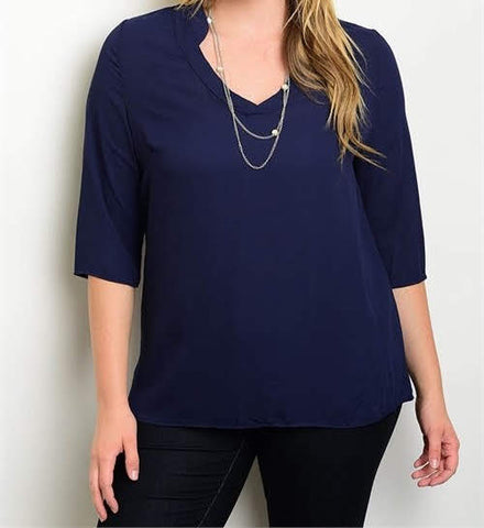 3/4 Length Sleeve Navy Blue Blouse