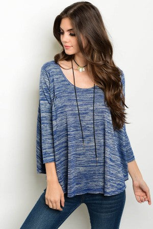 Loose Variegated Blue/Gray Top