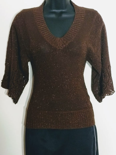 3/4 Sleeve Stretch Top Vintage Outdoor Brown V-Neck Blouse