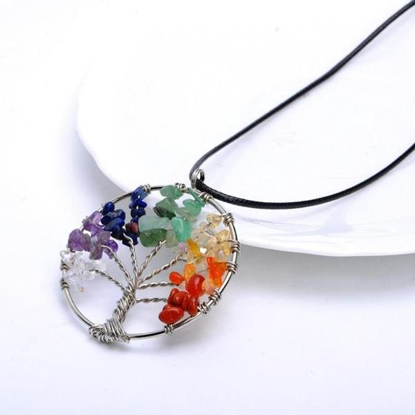 Chakra Tree of Life Healing Stones Necklace