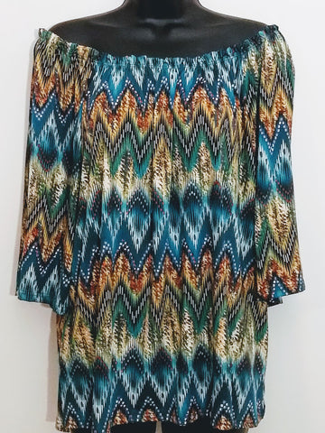 Versatile Off/On Shoulder Chevron Print Top