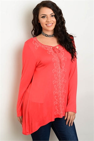 Coral Plus Size Embroidered Loose Top