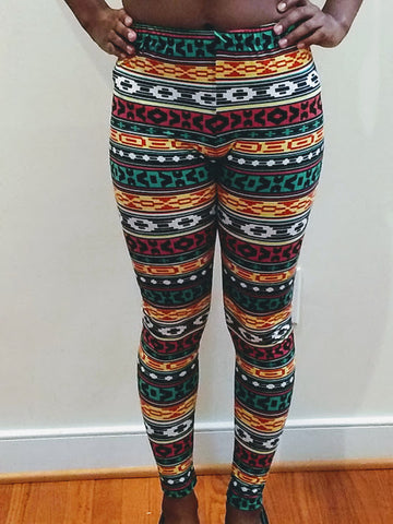 Multi-Color Tribal Print Leggings (One Size)