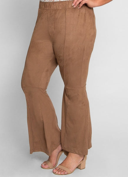 Flare Bottom Faux Suede Pants - Plus Size