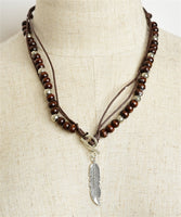 "Bead and Feather Shaped Necklace (10"")"