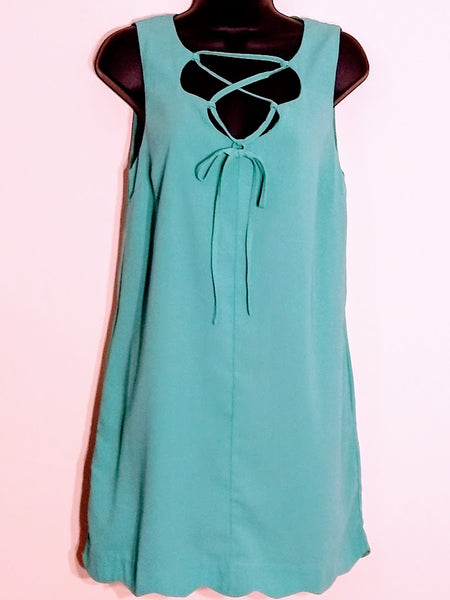 High Quality Laced Up Front Green Mini Shift Dress with Side Pockets