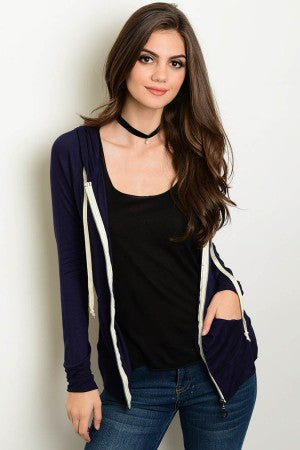 Lightweight Blue Hooded Women's Jacket