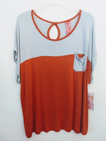 Orange and Gray Contrast Short Sleeve Top