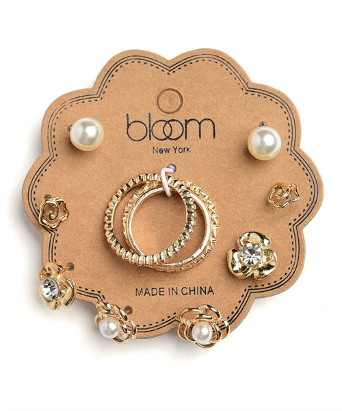 Bloom New York Pearl and Stone Floral Earrings and Ring Set