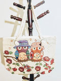 Vacation Owl Print Canvas Bags