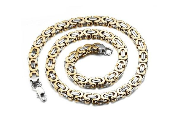 Stainless Steel Gold/Silver Color Heavy Weight Chain Link Necklace (22 Inch)-Unisex