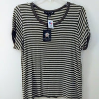 Living Doll Olive Green Beige Stripe Women's Top