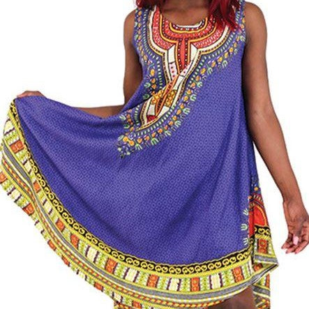 High Quality Rayon Ethnic Print Umbrella Dress - One Size