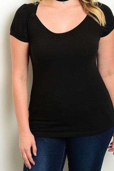 Short Sleeve Plus Size Black Top