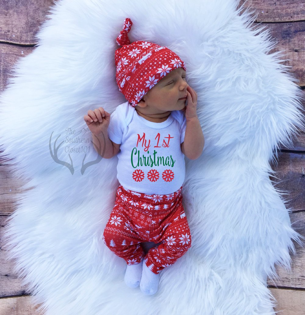 75f40b2e95a1f Unisex Christmas Outfit,My 1st Christmas, My First, Girl Coming home  outfit,Boy Coming Home Outfit,Bears,Trees,Deer,Red and White,Country