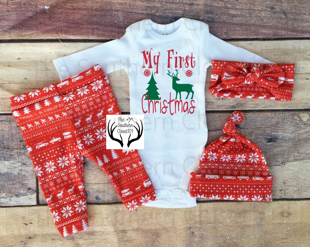080724d6a ... Unisex Christmas Outfit,My First Christmas,Baby, Girl Coming home outfit,Boy  ...