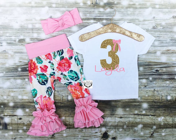 d242d8d34be8c Third Birthday Outfit Girl,Third Birthday,Floral, Gold Glitter,3rd Birthday  Outfit